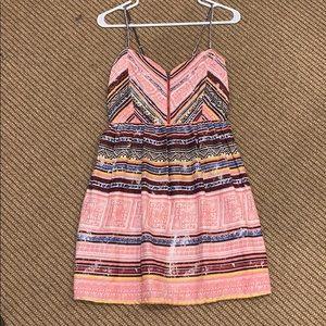 ROXY zipper front distressed pattern sundress